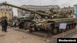 An exhibition in Kyiv in 2015 shows Russian weapons brought from the combat zone.