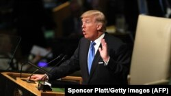 "U.S. President Donald Trump addressing the UN General Assembly last month. In the speech, he called the Iran nuclear deal ""one of the worst"" accords Washington has ever entered into."