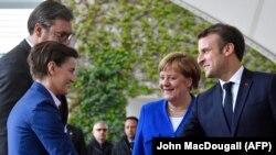 Cancelara Angela Merkel, președintle francez Emmanuel Macron., președintele sârb Aleksandar Vucic și premierul sârb Ana Brnabic, Berlin, 29 aprilie 2019