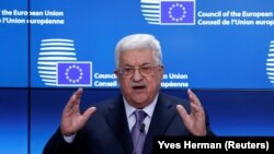 Palestinian leader Mahmud Abbas speaking in Brussels on January 22.