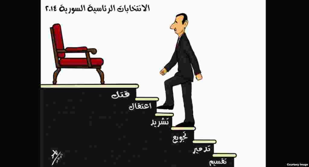 «پلکان ریاست جمهوری»؛ اثر یاسر ابو حامد، هنرمند سوری، فلسطینی. هر گام با واژهای تعریف شده است:تفرقه، ویرانی، قحطی، آوارگی، زندان و قتل.