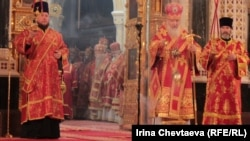 Priests carry out the liturgy in Moscow's Christ the Savior Cathedral