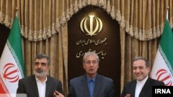 Iranian officials announcing decision for higher-grade uranium enrichment in a press conference in Tehran. July 7, 2019