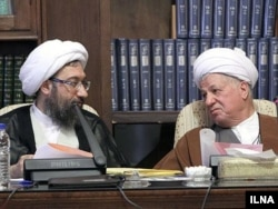 در کنار اکبر هاشمی رفسنجانی، رئیس اسبق مجمع تشخیص مصلحت در یکی از نشستهای این نهاد