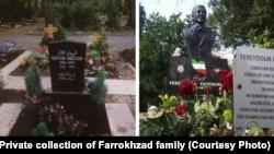 سنگ قبر قدیم فریدون فرخزاد (چپ) و مجسمه و سنگ قبر جدید او