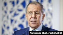Russian Foreign Minister Sergei Lavrov on his visit to Dushanbe on February 5.