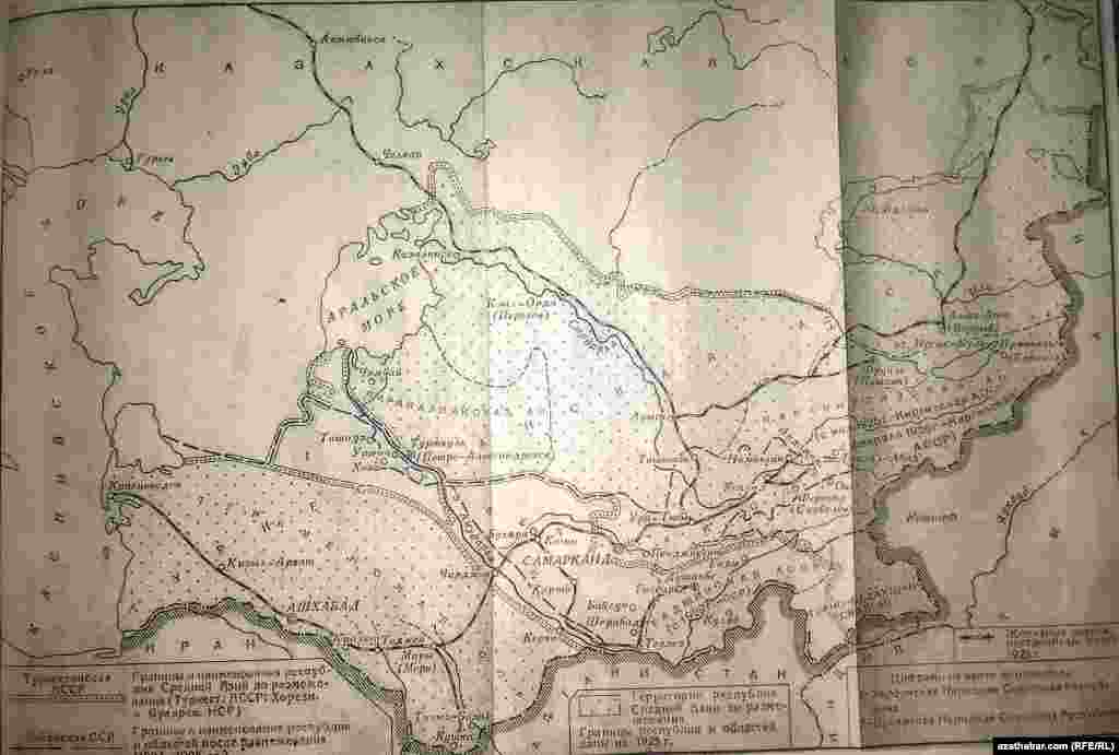 Merkezi Aziýa respublikalarynyň araçäkleriniň kesgitlenmeginden öňki we soňky territoriýalaryň kartasy, 1925