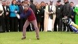 turkmenistan. video grab of turkmen president playing golf