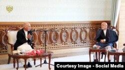 محمد اشرف غنی رئیس جمهور فعلی و حامد کرزی رئیس جمهور سابق افغانستان
