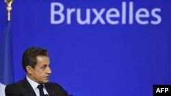 Президент Франции Николя Саркози на саммите ЕС в Брюсселе. 27 октября 2011 г