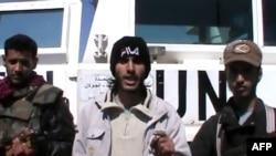 تصویر منتسب به سه تن از شورشیانی که صلحبانان سازمان ملل را به گروگان گرفتهند.