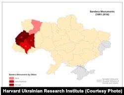 Количество памятников Степану Бандере в отдельных регионах Украины