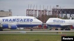 Самалёты Boeing 747 авіякампаніі «Трансаэро». Архіўнае фота