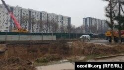 Construction on the new line of the Tashkent metro.