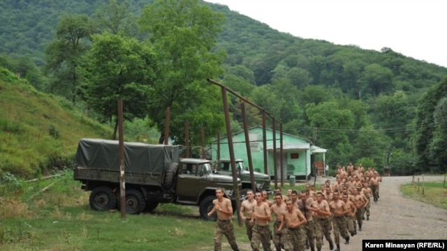 Nagorno Karabakh -- Soldiers' training at a military base in the north of Nagorno Karabakh, 13Jul2012