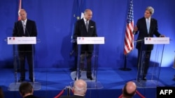 Laurent Fabius, John Kerry dhe William Hague