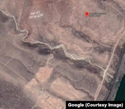 "A 2020 satellite image showing a patriotic Turkic phrase (top left), meaning ""everything for the motherland,"" is written in six meter-high letters near where the Julfa cemetery once stood."