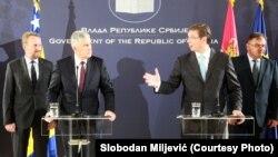 Dragan Čović, Mladen Ivanić, Bakir Izetbegović i Aleksandar Vučić na konferenciji za medije u Palati Srbija
