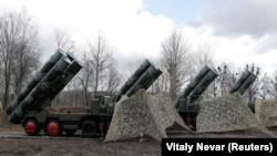 "RUSSIA -- A view shows a new S-400 ""Triumph"" surface-to-air missile system after its deployment at a military base outside the town of Gvardeysk near Kaliningrad, March 11, 2019"