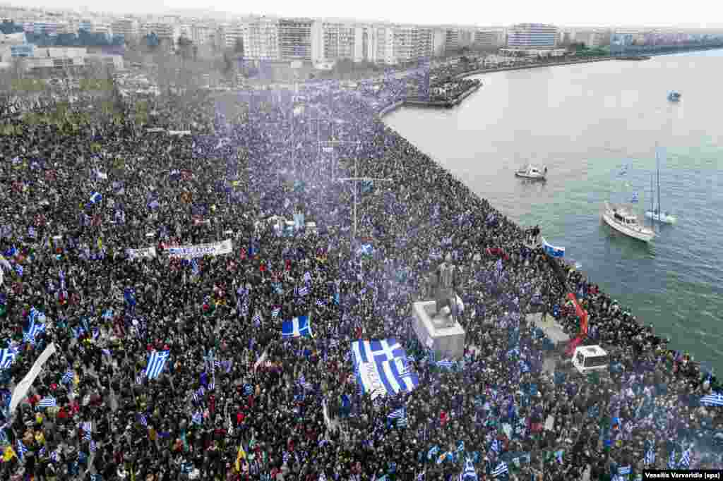 "A crowd gathers in the northern Greek city of Thessaloniki on January 21 to protest the use of the name ""Macedonia"" by Greece's northern neighbor. The region of Greece around Thessaloniki is also called Macedonia."