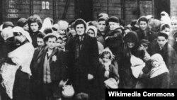 Grupa Židova po dolasku u Auschwitz 1944. godine
