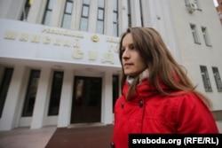 Вікторыя Пальчыс перад Менскім гарадзкім судом падчас працэсу над Эдуардам Пальчысам