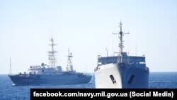 UKRAINE -- Ships of the Navy of the Armed Forces of Ukraine entered the Sea of Azov