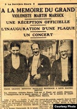 Evenimentul de la Jupille într-o recenzie de epocă cu fotografia celor trei mari violoniști