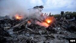 Ուկրաինա - Կործանված «Բոինգ»-ի այրվող բեկորները, Դոնբաս, 17-ը հուլիսի, 2014թ․