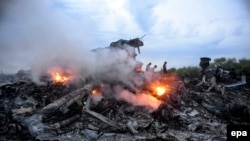 Debris of the Malaysia Airlines flight MH17, which crashed flying over the eastern Ukraine region near Donetsk on July 17, 2014.