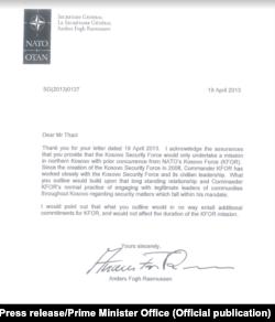 Pismo koje je sekretar NATO-a Rasmusen uputio tadašnjem premijeru Tačiju