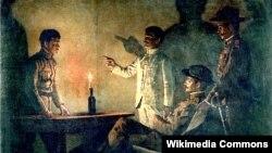 Васіль Верашчагін, «Допыт дэзэртыра» (1901)
