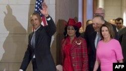 Президент США Барак Обама прибыл на встречу в сенаторами-демократами