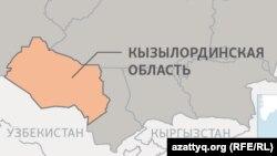 Кызылординская область на карте Казахстана.