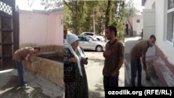 A Tajik man in Dushanbe doing menial labor as a penalty for being caught making lewd comments to women.