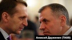 Спикер Государственной Думы Сергей Нарышкин и председатель Верховного Совета Крыма Владимир Константинов, 18 марта 2014 года