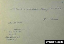 Semnătura lui Jan Patocka pe Charta 77