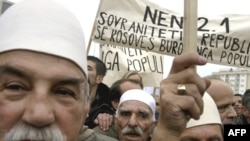 Kosovars protest the six-point plan on November 19.