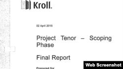 Pagină de titlu a primului Raport Kroll