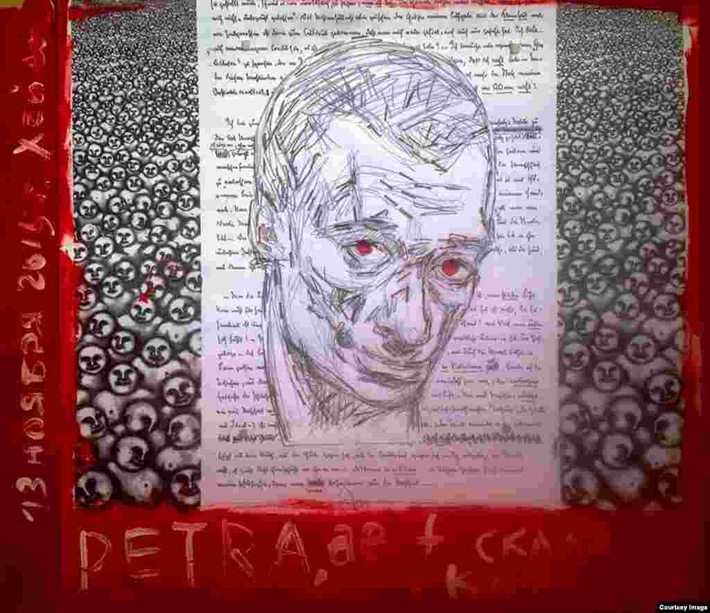 """""""Пиши кровью, и ты поймешь, что кровь есть дух"""". """"Я проколола иглой указательный палец левой руки и, выдавливая из пальца кровь, нанесла несколько капель на рисунок. Крови хватило лишь на 2 линии, чтобы продолжить писать портрет я снова и снова прокалывала палец"""""""