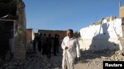 Pamje e xhamisë së shkatërruar nga një sulm në jug të Bagdadit