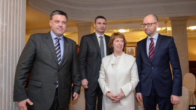European Union foreign policy chief Catherine Ashton (second from right) meets with Ukrainian opposition leaders Arseniy Yatsenyuk (right), Vitali Klitschko (second left), and Oleh Tyahnybok (left) in Kyiv on  February 4.