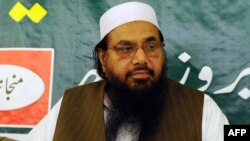 Hafiz Mohammad Saeed, the founder of Lashkar-e Taiba, attends a news conference in Rawalpindi on April 4.