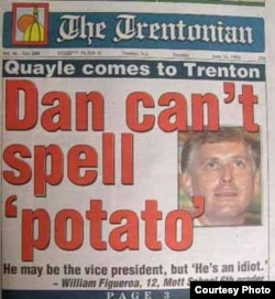 Первая полоса газеты Trentonian: «Дэн не умеет написать «картошка».