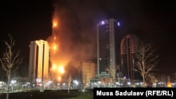 No one was injured in the blaze in downtown Grozny, which began in the early evening on April 3.
