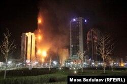 Палає хмарочос у Грозному, 3 квітня 2013 року