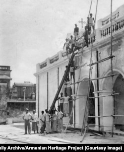 A crew making renovations to the church in the 1930s.