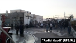 Tajikistan/Khatlon region -- Fire in a gas station in Kulob city, 6Nov2011