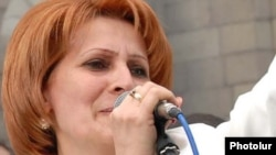 Armenia -- Heghine Bisharian, a leader of the pro-government Orinats Yerkir Party, speaks at a May 2009 rally in Yerevan.
