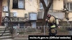 Пожарник на месте происшествия